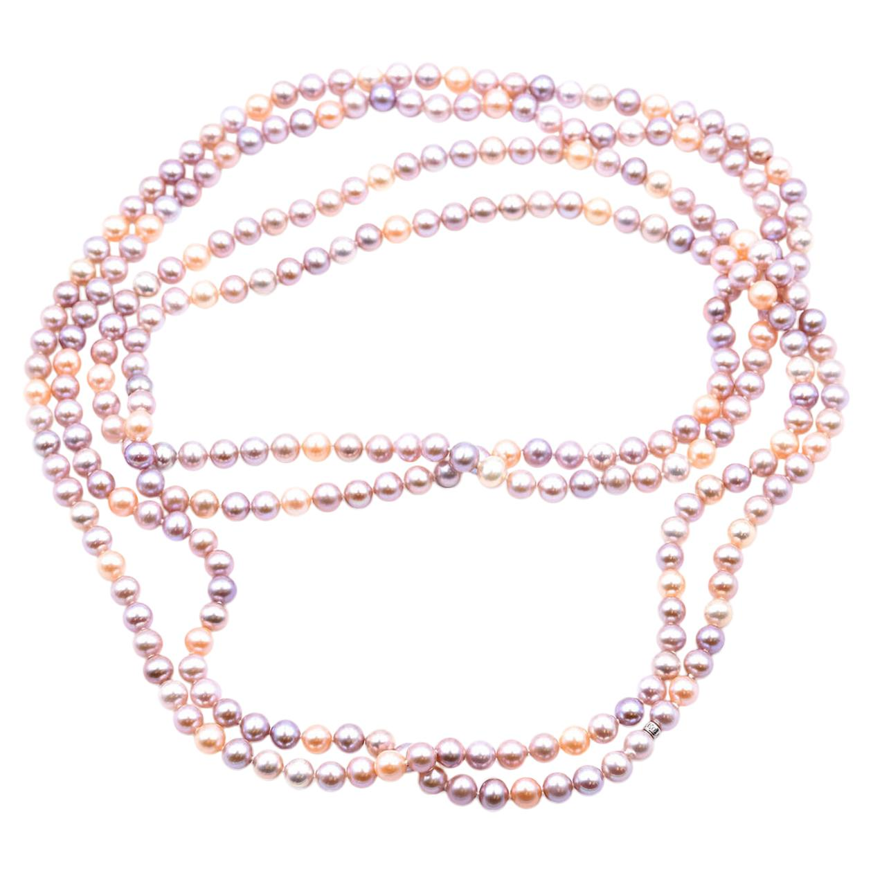 Tiffany & Co. Opera Length Strand of Pinkish Purple Pearls