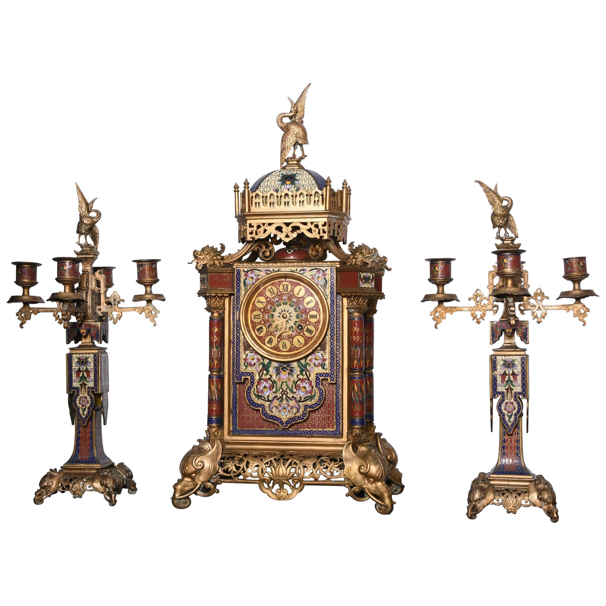 Tiffany & Co. Ormulu Bronze Champlevé Enamel Mantel Clock Garniture