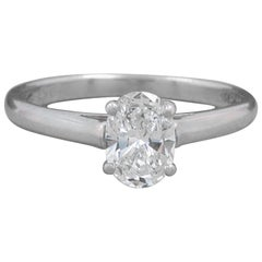 Tiffany & Co. Oval Diamond 0.66 Carat E VVS2 Solitaire Engagement Ring Platinum