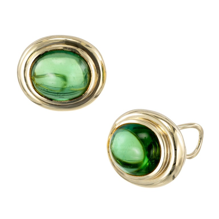 c29f1d388ebdc Tiffany & Co. Oval Green Tourmaline Yellow Gold Lever Back Earrings
