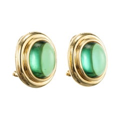 Tiffany & Co. Oval Green Tourmaline Yellow Gold Lever Back Earrings