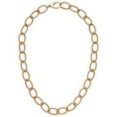Tiffany & Co. Oval Link Ribbed 18 Karat Gold Chain Necklace and Bracelet Set