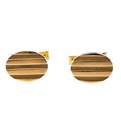 Tiffany & Co. Oval gestreifte 18k Gelb Gold Manschettenknöpfe