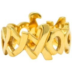 Tiffany & Co. Paloma Picasso 18 Karat Gold Graffiti Love and Kisses Band Ring