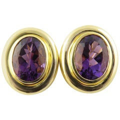 Tiffany & Co. Paloma Picasso 18 Karat Yellow Gold Amethyst Oval Earrings