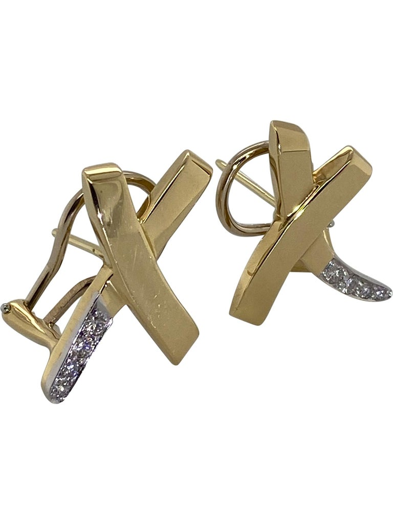 Contemporary Tiffany & Co. Paloma Picasso 18 Karat Yellow Gold and Diamond Kiss Earrings For Sale