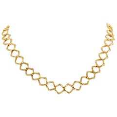 Tiffany & Co. Paloma Picasso 18 Karat Yellow Gold Square Link Collar Necklace