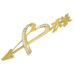 Tiffany & Co. Paloma Picasso 18 Karat Yellow Gold Diamond Heart & Arrow Brooch
