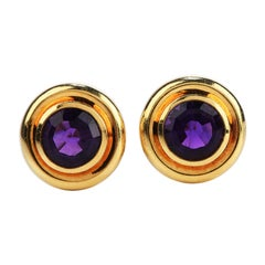 Tiffany & Co. Paloma Picasso 1981 Amethyst 18k Gold Round Clip On Earrings