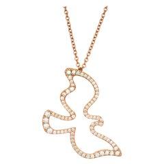 Tiffany & Co. Paloma Picasso .32 Carat Diamond Rose Gold Dove Pendant Necklace