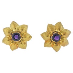 Tiffany & Co. Paloma Picasso Amethyst Gold Flower Earrings