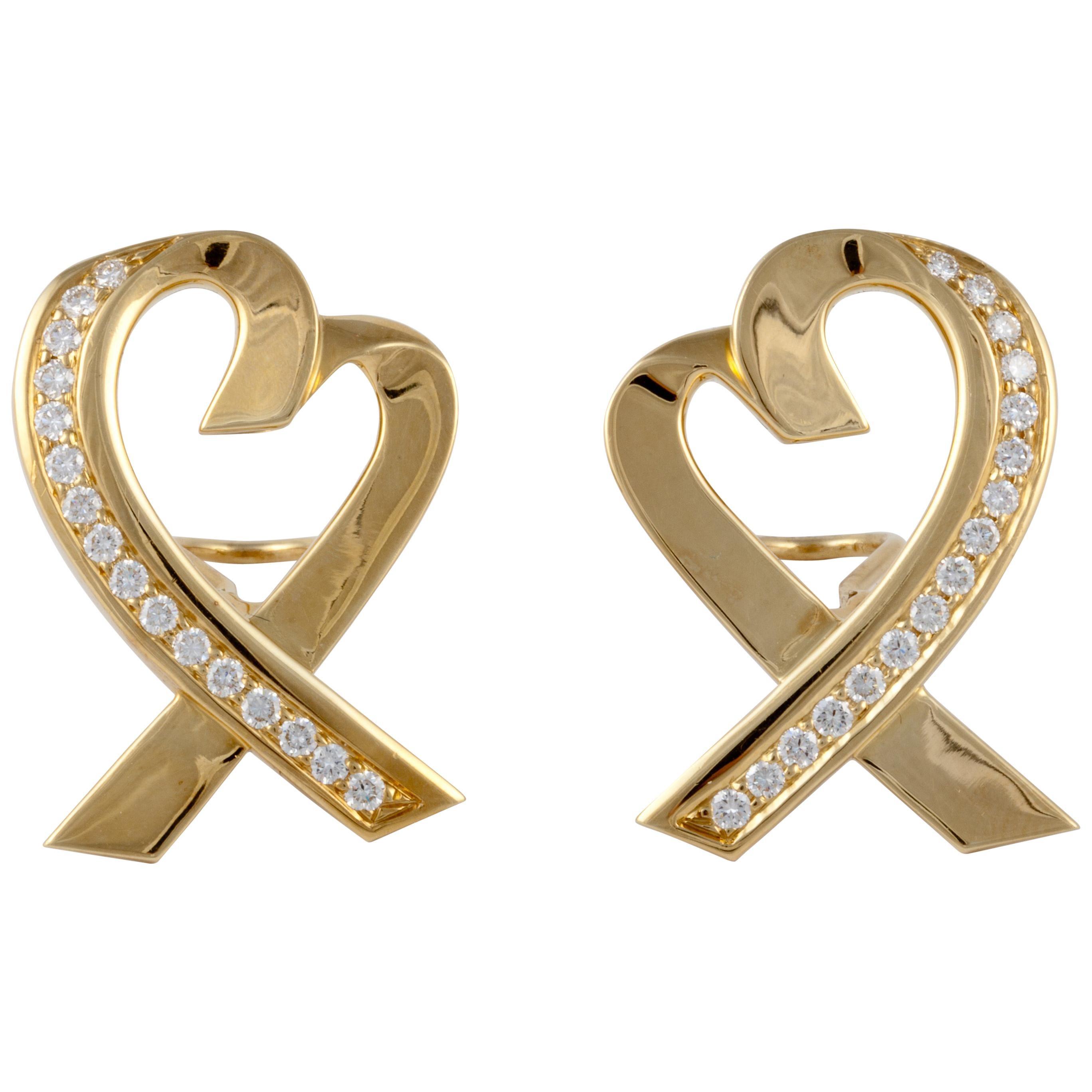 Tiffany & Co. Paloma Picasso Diamond Heart Earrings