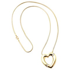 Tiffany & Co. Paloma Picasso Diamond Heart Yellow Gold Pendant Necklace