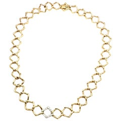 Tiffany & Co. Paloma Picasso Diamond Link Yellow Gold Platinum Necklace