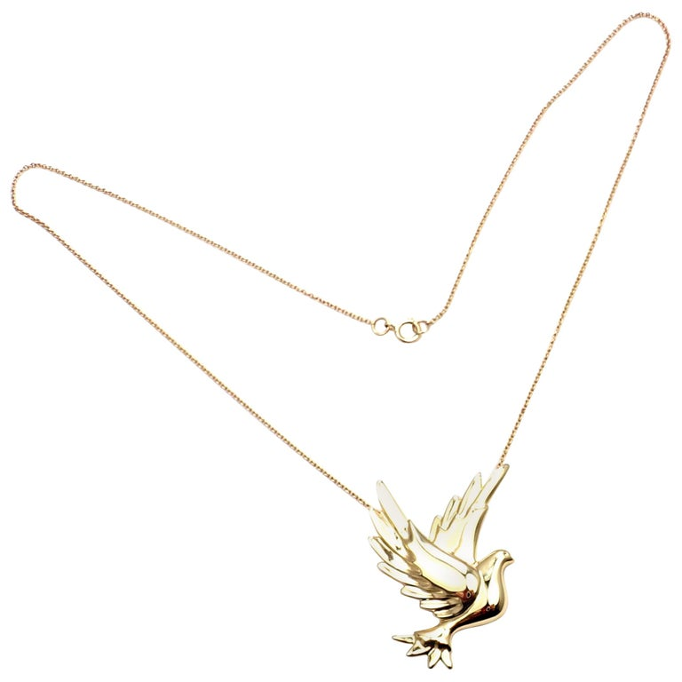 df2314576 Tiffany & Co. Paloma Picasso Dove Bird Yellow Gold Pendant Necklace For Sale