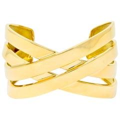 Tiffany & Co. Paloma Picasso French 18 Karat Yellow Gold Criss Cross Bracelet