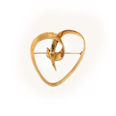 Tiffany & Co. Paloma Picasso Gold Heart Brooch, circa 1983
