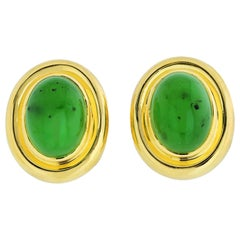 Tiffany & Co. Paloma Picasso Green Jadeite Jade Oval Cut 18 Karat Gold Earrings