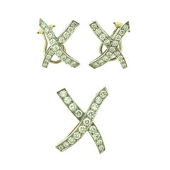 "Tiffany & Co. Paloma Picasso Kiss ""X"" Diamond Platinum Earrings and Brooch Set"