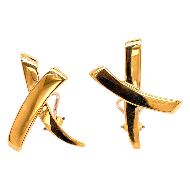 Tiffany & Co. Paloma Picasso Large X Earrings 18 Karat Yellow Gold For Sale