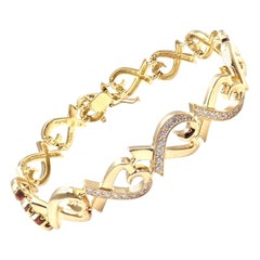 Tiffany & Co. Paloma Picasso Loving Heart Diamond Yellow Gold Bracelet
