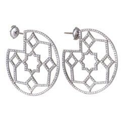 Tiffany & Co. Paloma Picasso Marrakesh Diamond Pave Platinum Hoop Earrings