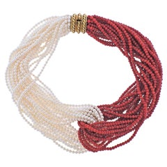 Tiffany & Co Paloma Picasso Pearl Coral Gold Necklace