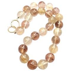 Tiffany & Co. Paloma Picasso Rutilated Quartz Bead Yellow Gold Necklace