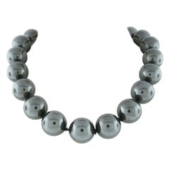 Tiffany & Co. Paloma Picasso Silver Huge Hematite Ball Bead Strand Necklace