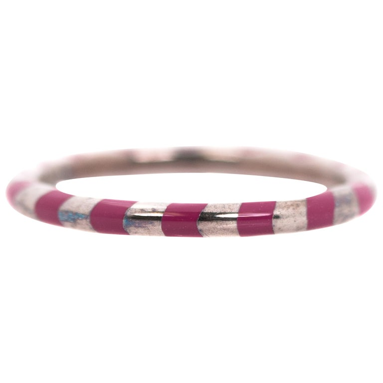 c8bb10c10 Tiffany & Co. Paloma Picasso Sterling Silver, Red Enamel Candy Cane Band  Ring For