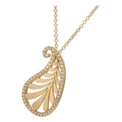 Tiffany & Co. Paloma Picasso Villa Palm Diamond Yellow Gold Pendant Necklace