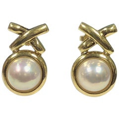 Tiffany & Co. Paloma Picasso X Collection Yellow Gold and Pearl Earrings