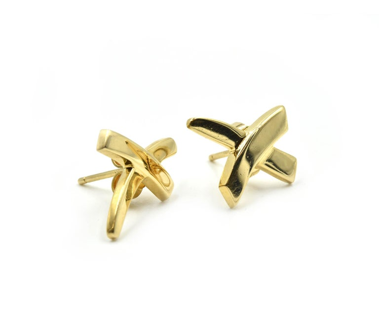 Designer: Tiffany & Co. Collection: Paloma Picasso Material: 18k yellow gold Fastenings: friction backs Dimensions: the top of each earring measures 3/8-inches long and 1/2-inches wide Weight: 4.11 grams Retail: $525