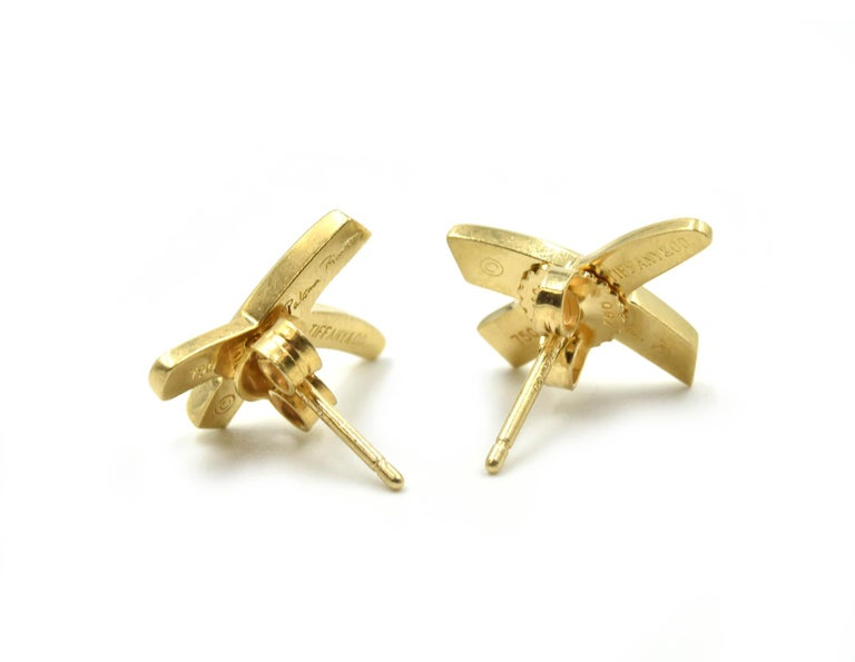 """Tiffany & Co. Paloma Picasso """"X"""" Earrings 18 Karat Yellow Gold In New Condition For Sale In Scottsdale, AZ"""