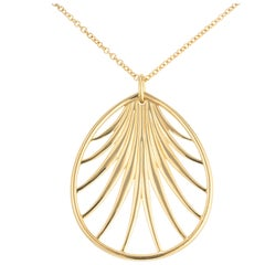 Tiffany & Co. Paloma Picasso Yellow Gold Villa Palm Leaf Pendant Necklace