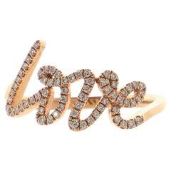 Tiffany & Co. Paloma's Graffiti Love Ring 18K Rose Gold and Diamonds Small