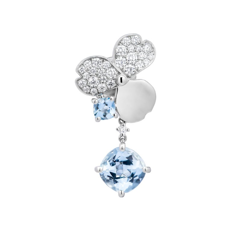 Tiffany Paper Flowers Aquamarine Single Drop Earring in Platinum with Diamonds Platinum encrusted with round brilliant diamonds and cushion-cut aquamarines Flowers, 14.5 x 14 mm each Round brilliant diamonds, carat total weight .50 Total length: