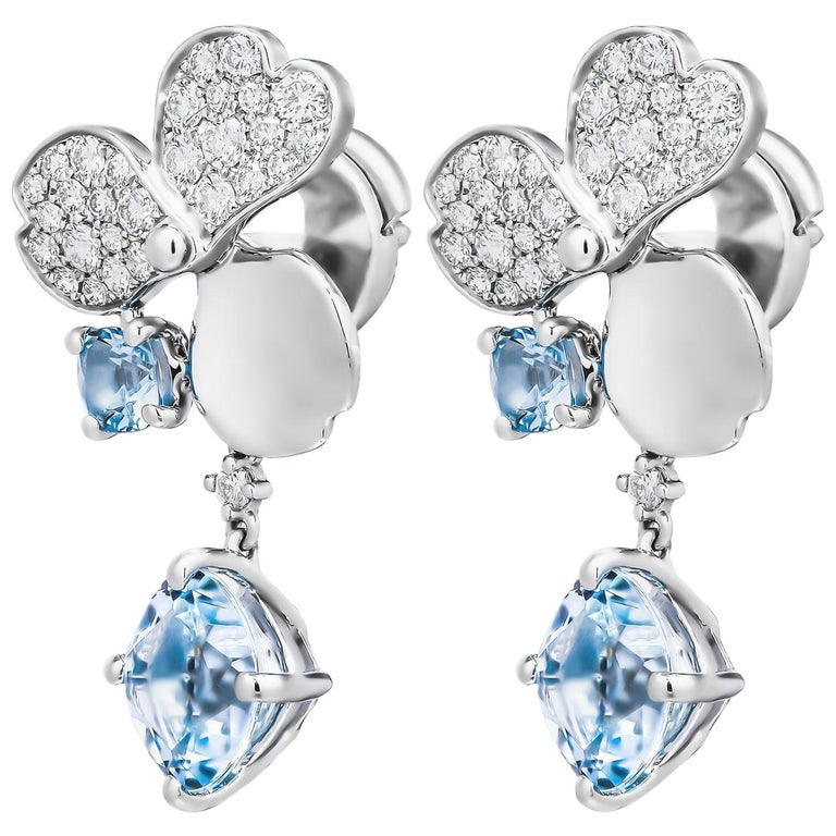 Tiffany & Co. Paper Flowers Aquamarine Single Drop Earring For Sale