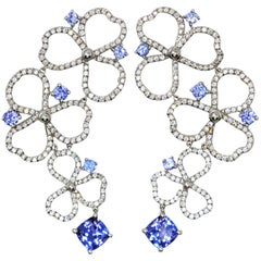 Tiffany & Co. Paper Flowers Diamond and Tanzanite Drop Earrings in Platinum
