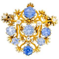 Tiffany & Co. Paulding Farnham Sapphire Diamond Enamel 18 KT Gold Floral Brooch