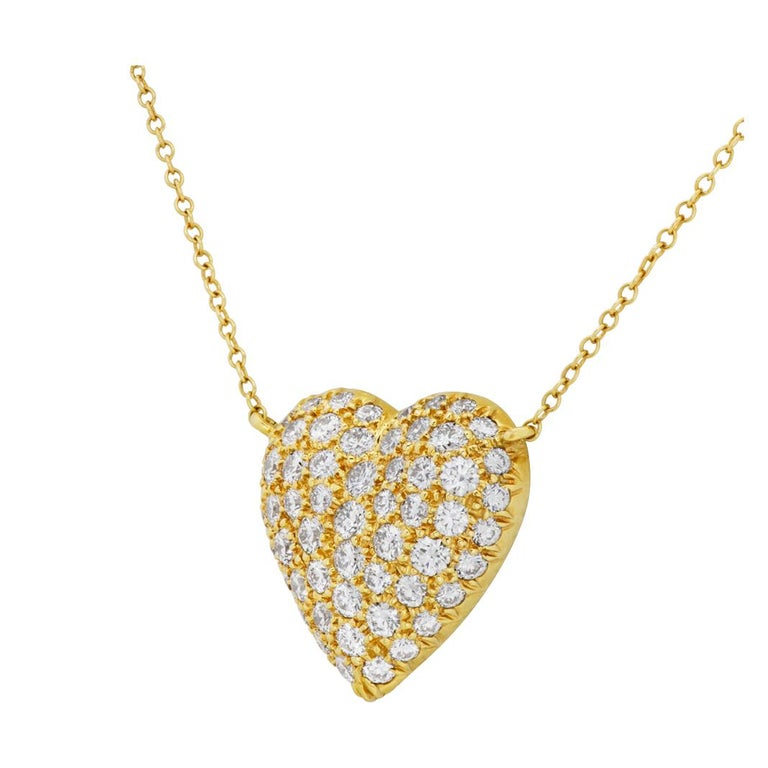 Tiffany & Co. Pave Diamond Heart Necklace in 18k In Excellent Condition For Sale In Surfside, FL