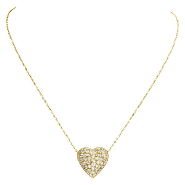 Women's Tiffany & Co. Pave Diamond Heart Necklace in 18k For Sale