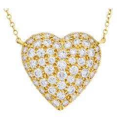 Tiffany & Co. Pave Diamond Heart Necklace in 18k