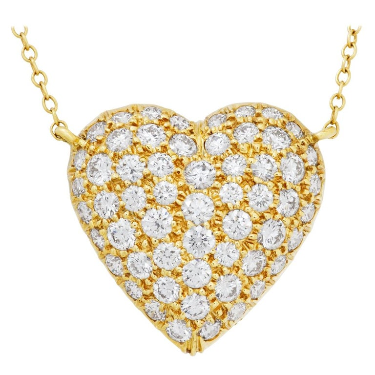 Tiffany & Co. Pave Diamond Heart Necklace in 18k For Sale
