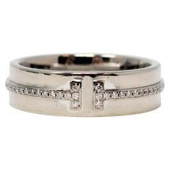 Tiffany & Co. Pave Diamond Tiffany T Band Ring in 18 Karat White Gold