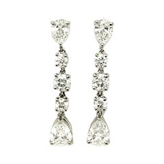 Tiffany & Co. Pear and Round Diamond Dangle Platinum Earrings 1.60 Carats Total