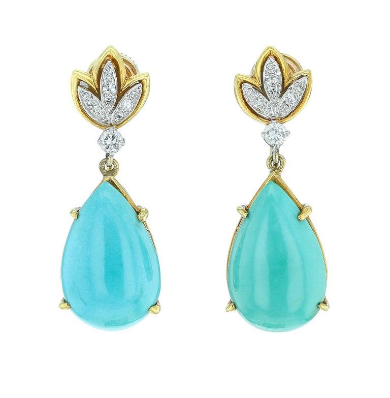 fee46f78b788e Tiffany & Co. Pear-Shape Turquoise and Diamond Earrings