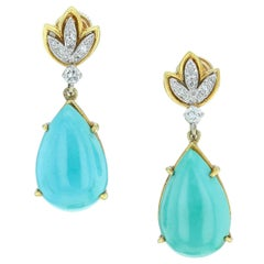 Tiffany & Co. Pear-Shape Turquoise and Diamond Earrings