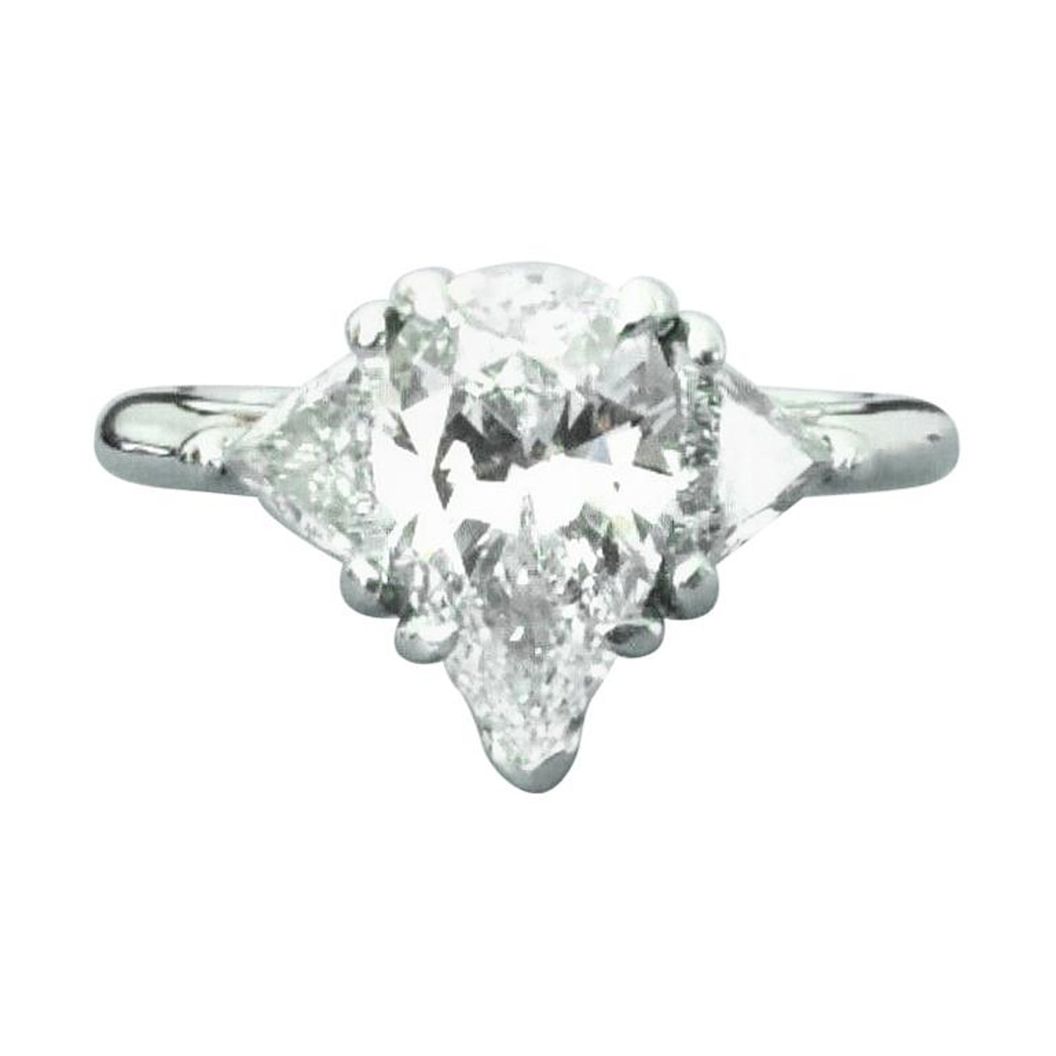 015a3169e Tiffany and Co. Pear Shaped Platinum and Diamond Engagement Ring 1.29 Carat  E VS2 at 1stdibs