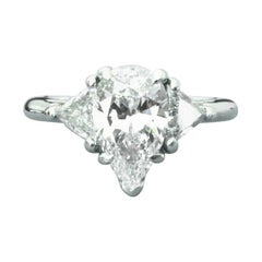 Tiffany & Co. Pear Shaped Platinum and Diamond Engagement Ring 1.29 Carat E VS2
